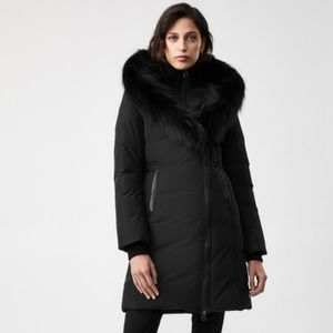 NEW Mackage Kay-P Black Down Fur Hood Parka Coat